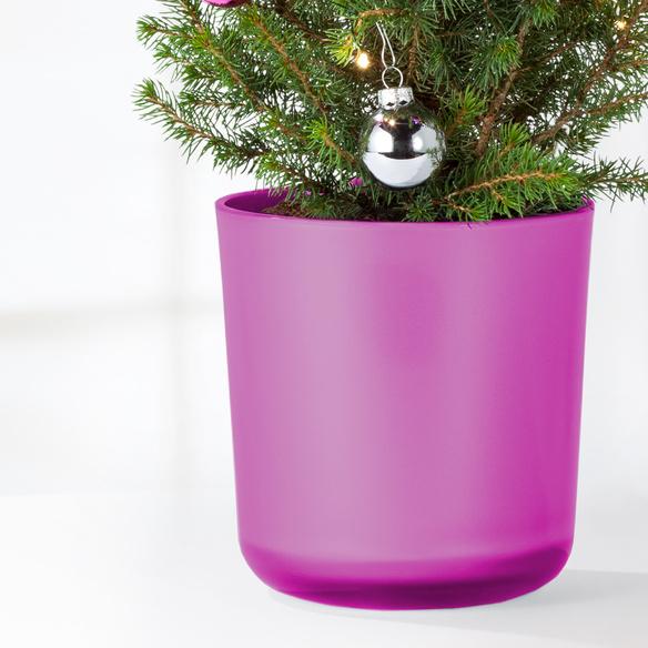 Weihnachtsbaum mit Schmuck mit Glas-Übertopf