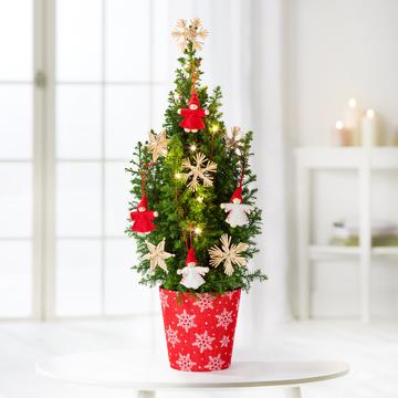 Weihnachtsbaum mit Schmuck mit Übertopf