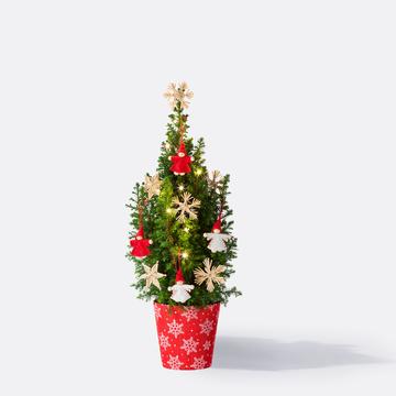 Weihnachtsbaum ca. 40 cm mit Schmuck mit Übertopf