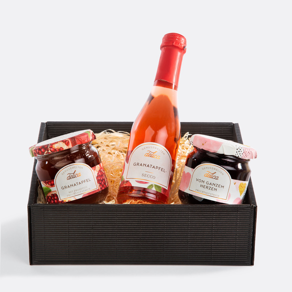 Geschenkset mit Prosecco, Heidelbeer- Fruchtaufstrich und Granatapfel-Fruchtaufstrich