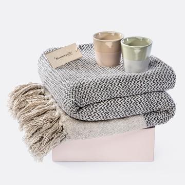 Geschenkset mit Wolldecke und Lichtern