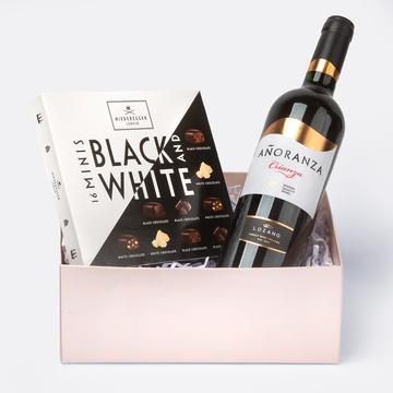 Geschenkset mit Crianza Rotwein und Niederegger Black & White