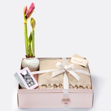 Geschenkset mit Amaryllis, Weihnachtsmandeln, Kuscheldecke