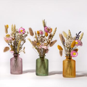 Trockenblumen mit Vase 3er Set
