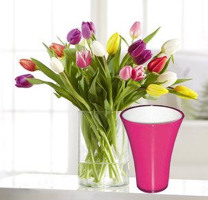 20 Stiele Bunte Tulpen mit fuchsiafarbener Vase in Gelb, Orange, Rosa, Pink und Lila