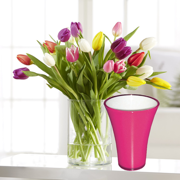 bunte tulpen 20 stiele mit fuchsiafarbener vase. Black Bedroom Furniture Sets. Home Design Ideas