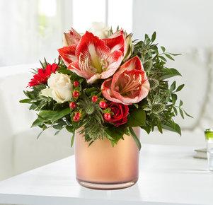 Blumenstrauß Amarylliszauber in Weiss, Rot und Creme