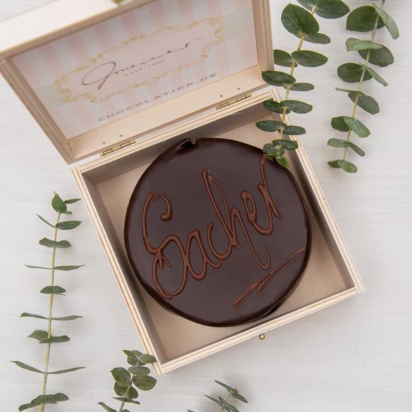 Mini Sachertorte in Holzbox, 200 g