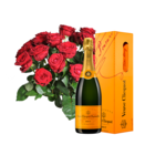 20 Stiele Rote Rosen mit Champagner Veuve Clicquot
