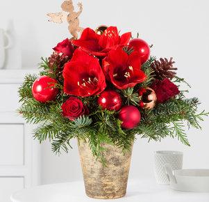 Blumenstrauß Engelszauber in Rot, Gold, Kupfer und Grün