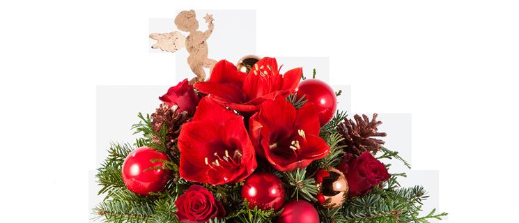 Nahaufnahme von Blumenstrauß Engelszauber in Rot, Gold, Kupfer und Grün