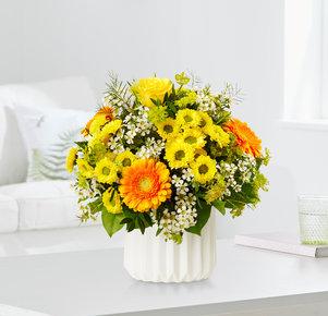 Blumenstrauß Geburtstagsüberraschung in Gelb und Orange