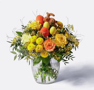 Blumenstrauß Hase im Glück in Gelb und Orange