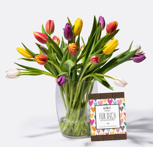 20 Stiele Bunte Tulpen mit Schokolade FÜR DICH in Weiss, Rot, Gelb, Orange, Rosa und Pink