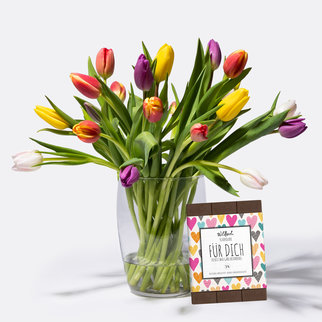 Bunte Tulpen mit Schokolade FÜR DICH