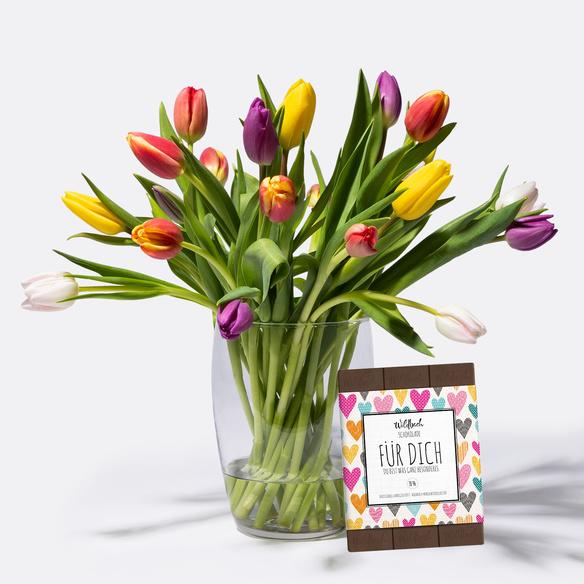 20 bunte tulpen mit schokolade f r dich. Black Bedroom Furniture Sets. Home Design Ideas