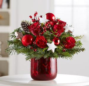 Blumenstrauß Weihnachtszeit in Weiss, Rot, Grün und Braun