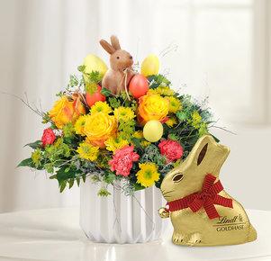 Blumenstrauß Hase im Glück mit Lindt Goldhasen in Gelb, Orange und Gold