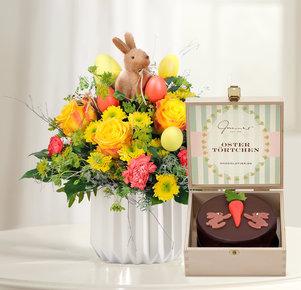 Blumenstrauß Hase im Glück mit österlicher Mini Sachertorte in Rot, Gelb, Orange und Braun