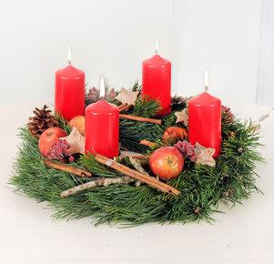 Adventskranz Weihnachtsfreude in Rot, Orange und Braun