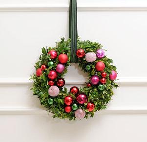 Türkranz Glänzende Weihnacht in Rot, Rosa, Pink und Lila