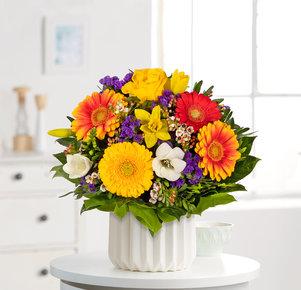 Blumenstrauß Farbenglück Größe M in Weiss, Rot, Gelb, Orange und Lila
