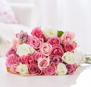 Blumenstrauß Rosengrüße in Weiss, Rosa, Pink, Creme und Lila