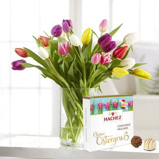 Bunte Tulpen mit Hachez Pralinen Kleiner Ostergruß