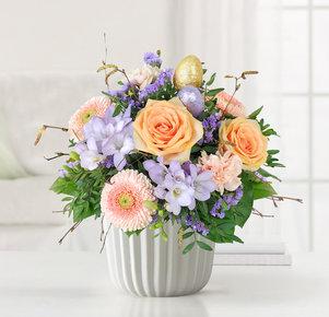 Blumenstrauß Ostertraum in Creme, Lila und Apricot
