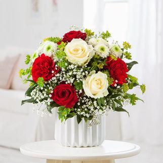Blumenstrauß Only for You in Weiss und Rot