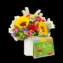 Blumenstrauß Sonnenlicht mit Buch Ein kleines Glück