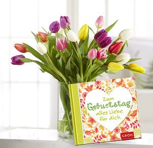 """20 Stiele Bunte Tulpen mit Buch """"Zum Geburtstag alles Liebe für dich"""" in Gelb, Orange, Rosa, Lila und Grün"""