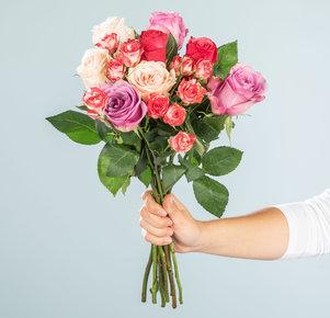 Rosenstrauß Mellow Roses Größe M in Rosa, Pink und Creme