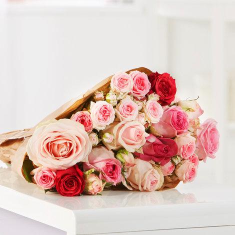 10 Stiele Mellow Roses Größe M in Rosa, Pink und Creme