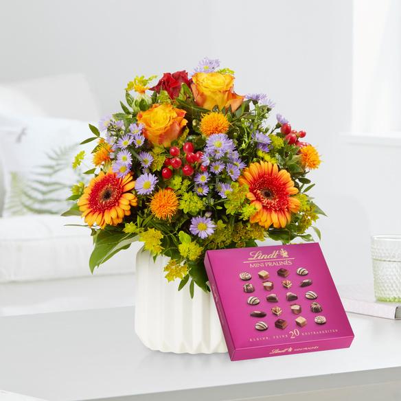 Blumenstrauß Celebration mit Lindt Mini Pralinés in Gelb, Orange und Lila