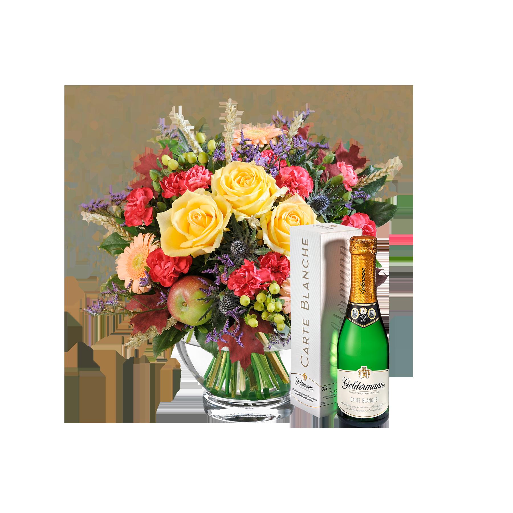 Blumenstrauß  -  - Herbstlicht -  -  mit Piccolo  -  - Carte Blanche -  -  von Geldermann