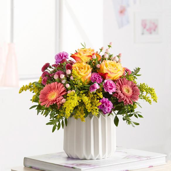Blumenstrauß Spiel der Farben Größe M in Gelb, Pink und Lila