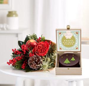 Blumenstrauß Kleine Freude mit weihnachtlicher Sacher in Rot, Gold, Grün und Braun