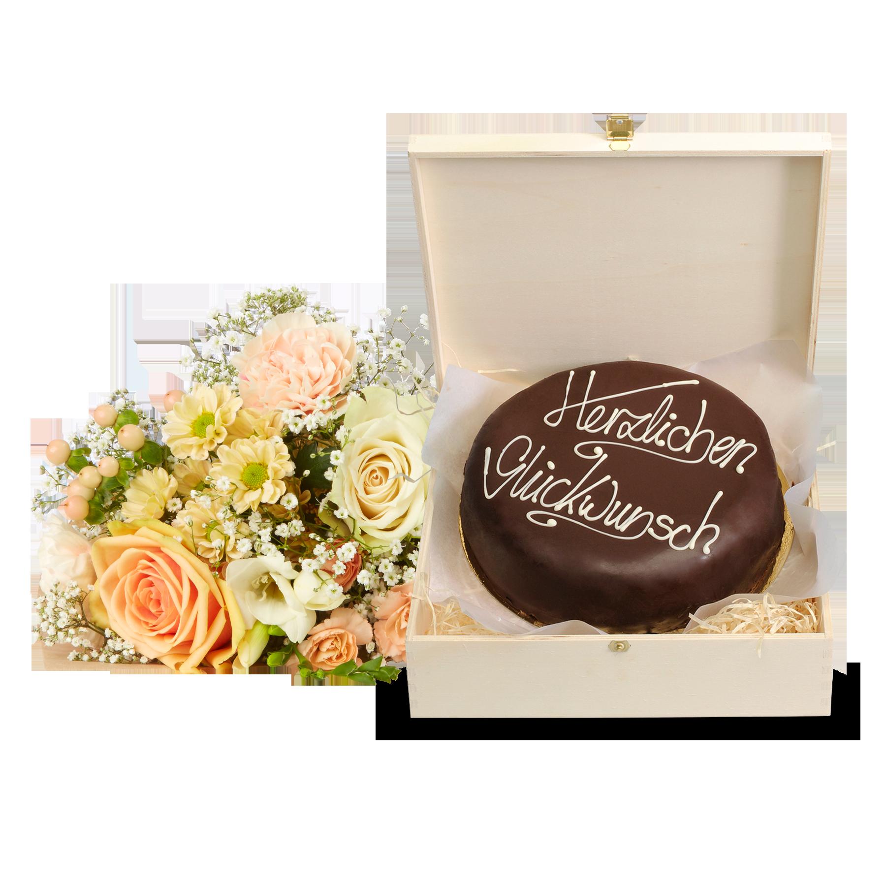 #Blumenstrauß Kleines Glück mit Schokoladentorte Glückwunsch#