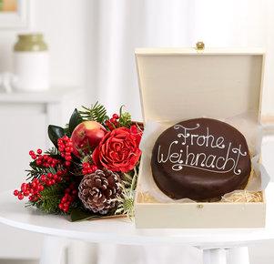 Blumenstrauß Kleine Freude mit Schokoladentorte Sacher Art in Rot und Braun