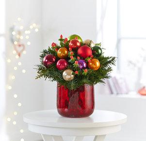 Blumenstrauß Fröhliches Fest in Rot, Orange, Creme, Lila und Grün