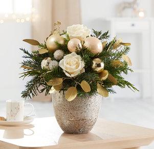 Blumenstrauß Weihnachtsgruß in Weiss, Creme, Gold und Grün