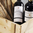 Weinpräsent  Frankreich Rotwein in hochwertiger Holzkiste