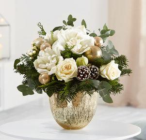 Blumenstrauß Bright Christmas in Weiss, Creme und Grün