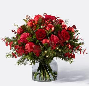 Blumenstrauß Leuchtende Weihnacht in Rot und Grün