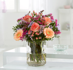 Blumenstrauß Glücksmoment in Rosa, Lila und Apricot