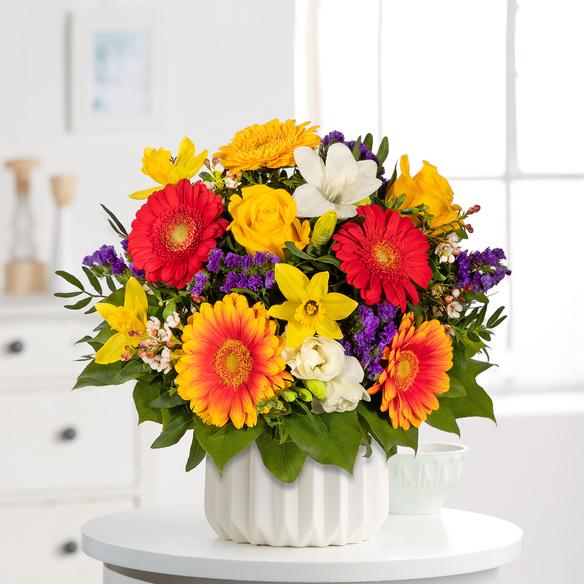 Blumenstrauß Farbenglück Größe L in Rot, Gelb, Orange und Lila