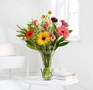 Blumenstrauß Birthday Bliss Größe M in Gelb, Orange, Rosa und Pink