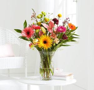 Blumenstrauß Birthday Bliss Größe L in Gelb, Orange, Rosa und Pink