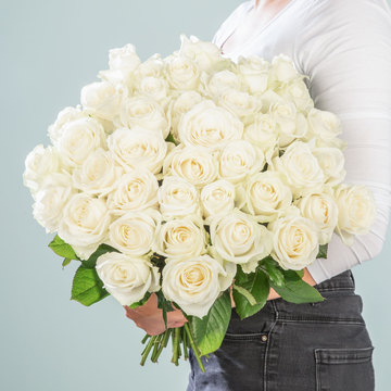 Rosen in Weiß 40 Stiele